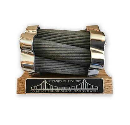 Strands of History blackened forge Memento made from original Golden Gate Bridge suspender ropes